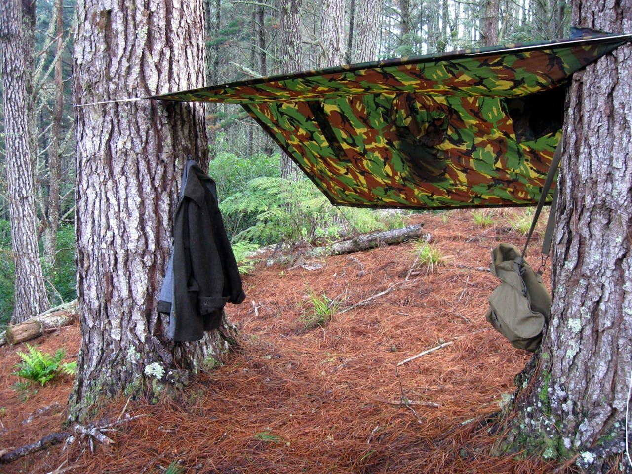 Josh built a shelter with a fire an arm's distance away. Photo: Josh Gale
