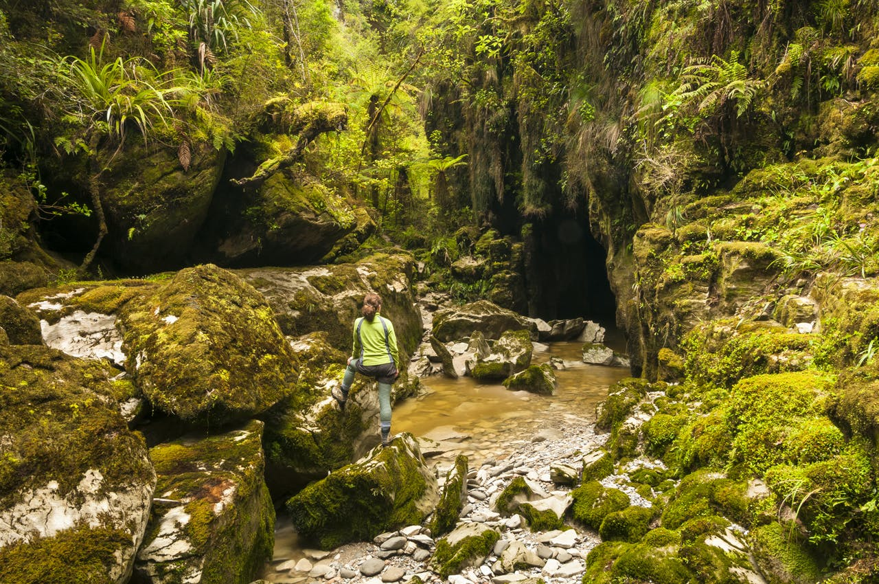 Cave creek with massive, moss covered rocks near Punakaiki and hiker. Photo: Petr Hlavacek