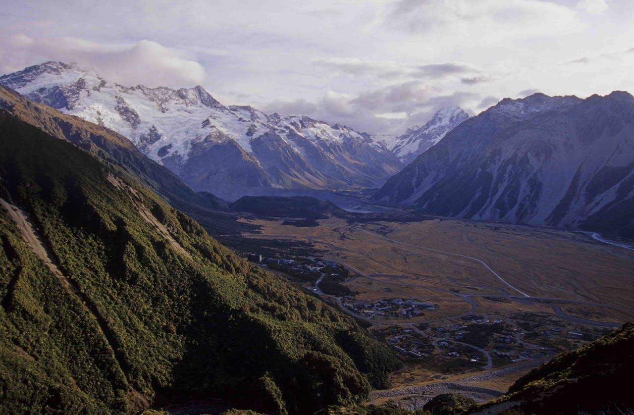 Mt Cook Village with Wakefiled Ridge on the right. Photo: Shaun Barnett