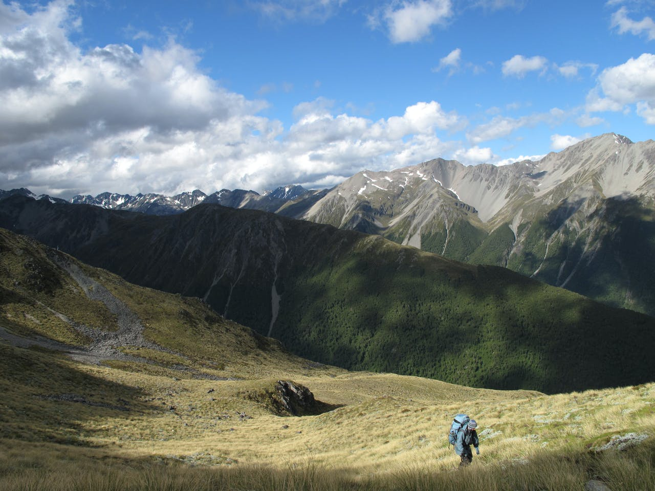 Below Enid Pass with the Waiau Valley beyond. Photo: Richard Davies
