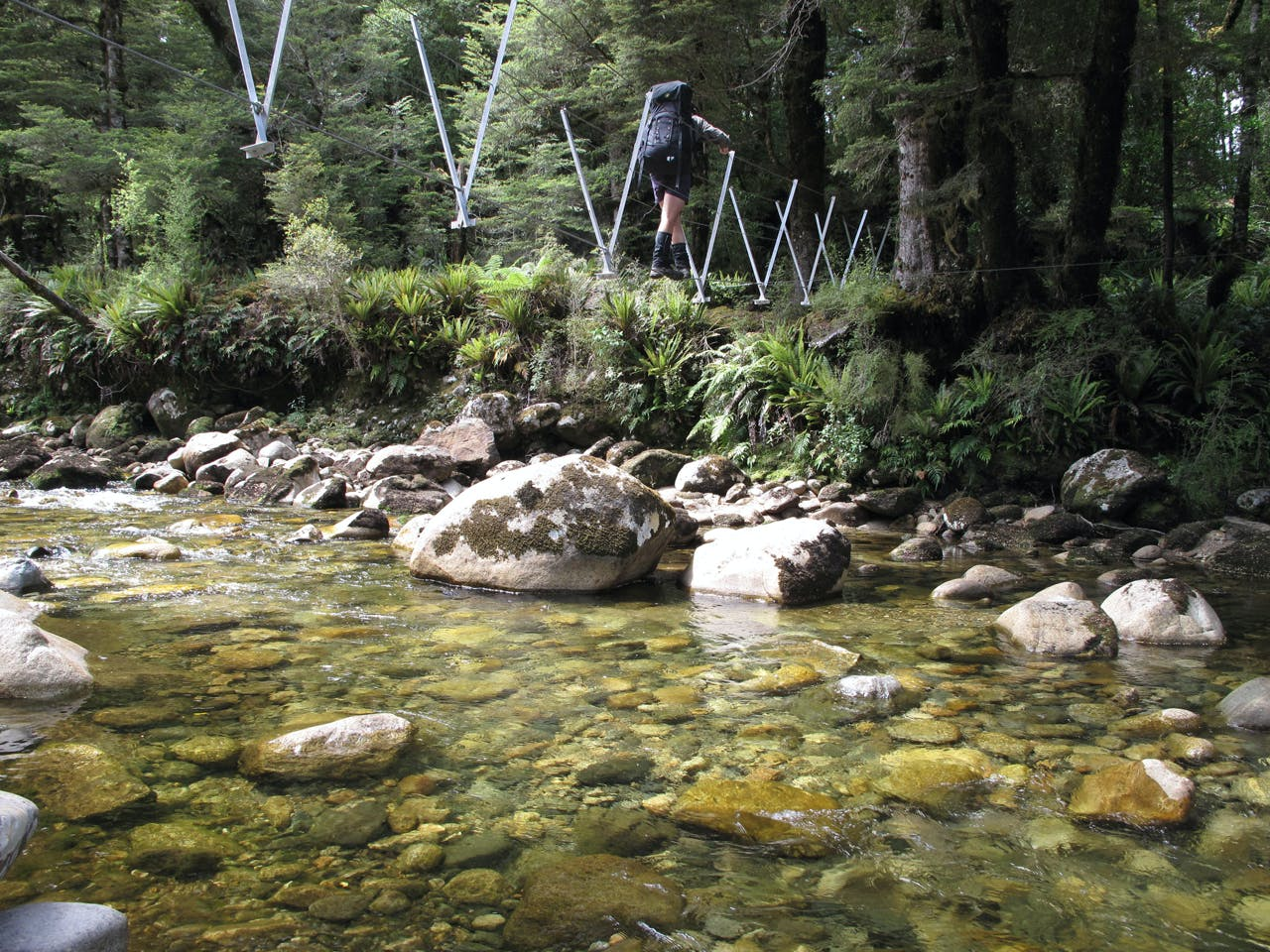Crossing the Rata Burn near Lake Hauroko.