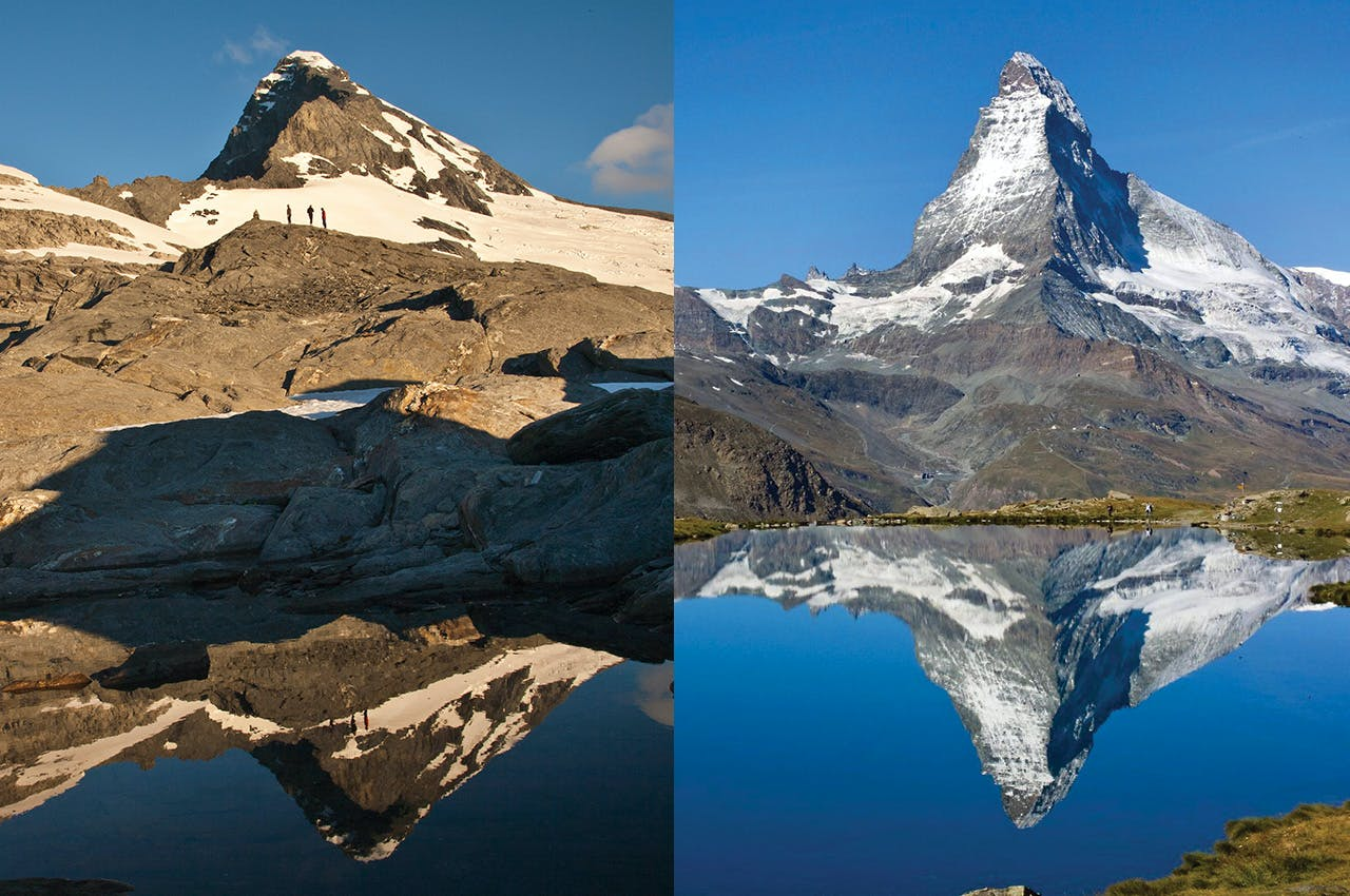 The Matterhorn, right, is a perfect example of natural architecture. And, in Aspiring, left, we have a summit to match. Photo: Nick Groves (Aspiring)