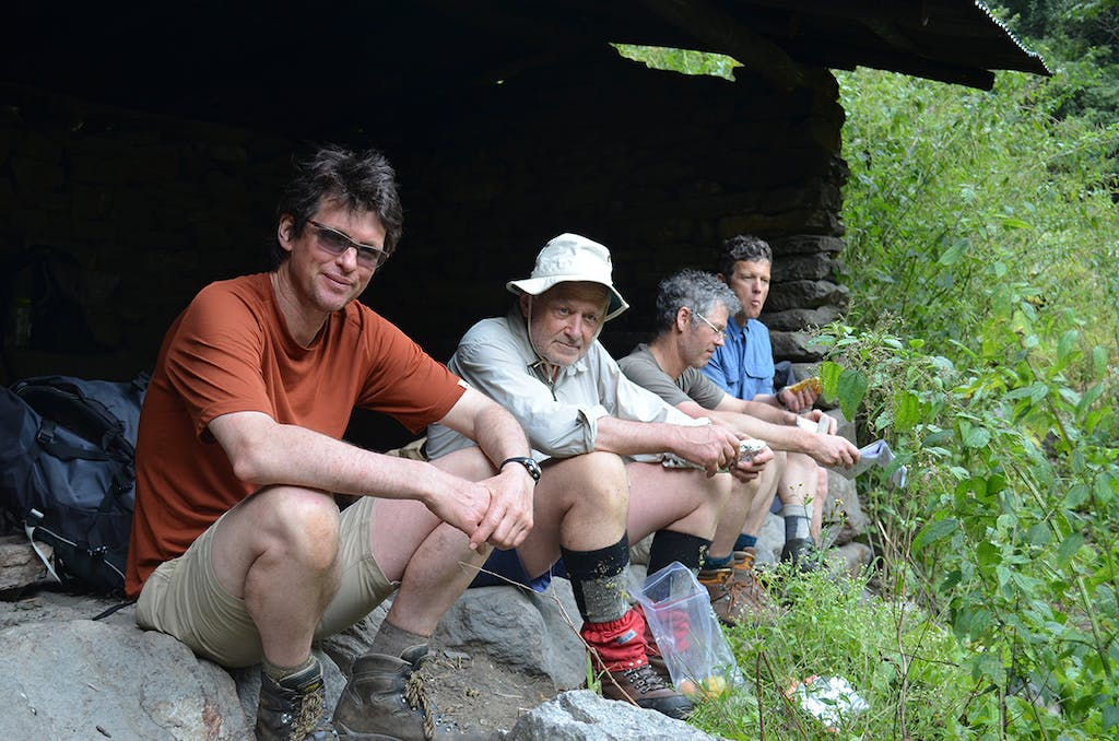 Paul Maxim (far left) says he has little desire to repeat the gung-ho trips he did 35 years ago. Photo: Supplied