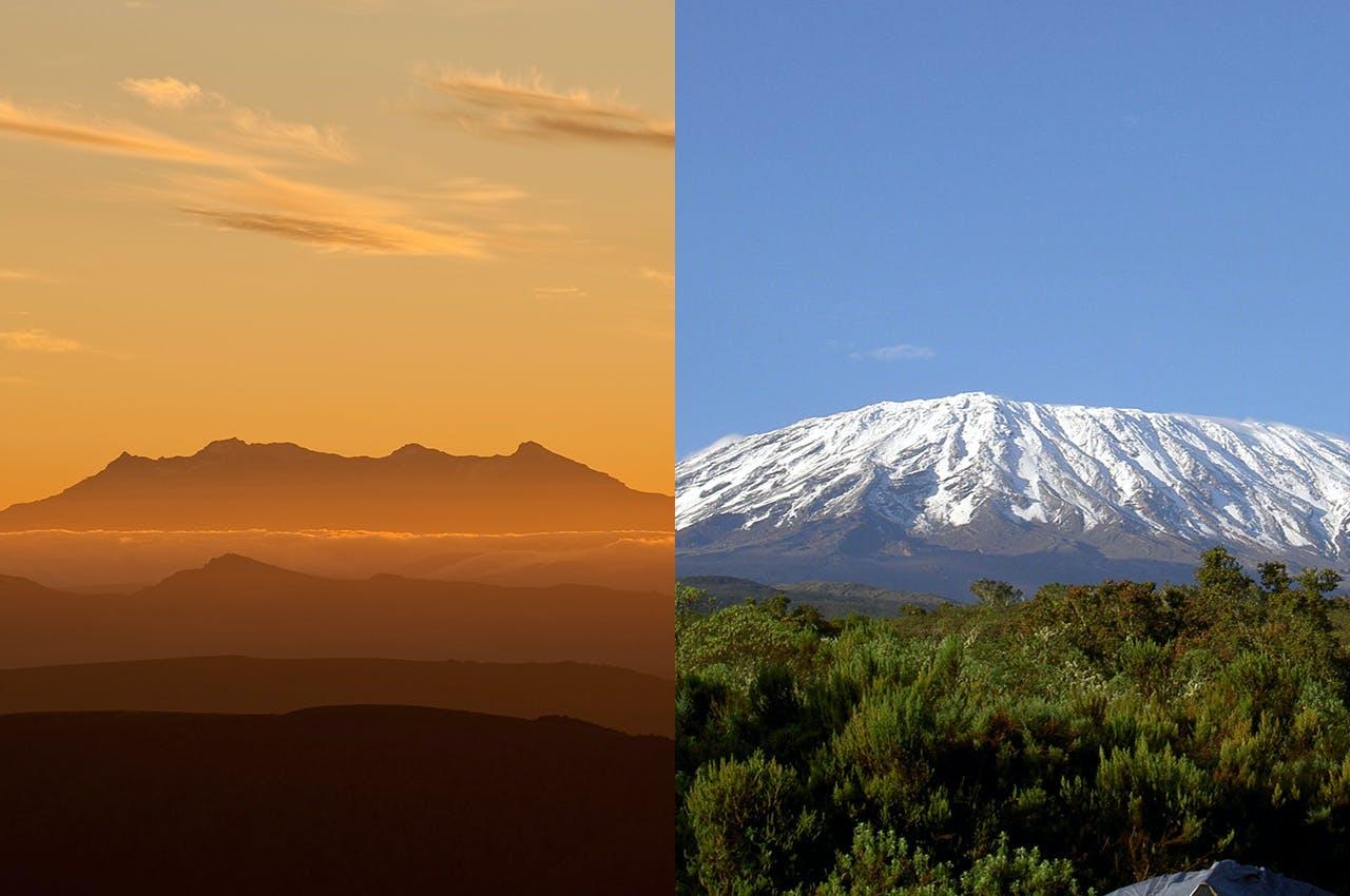 Ruapehu, Left, and Kilimanjaro, volcanoes of girth - as broad asn they are old. Photo: Shaun Barnett (Ruapehu)