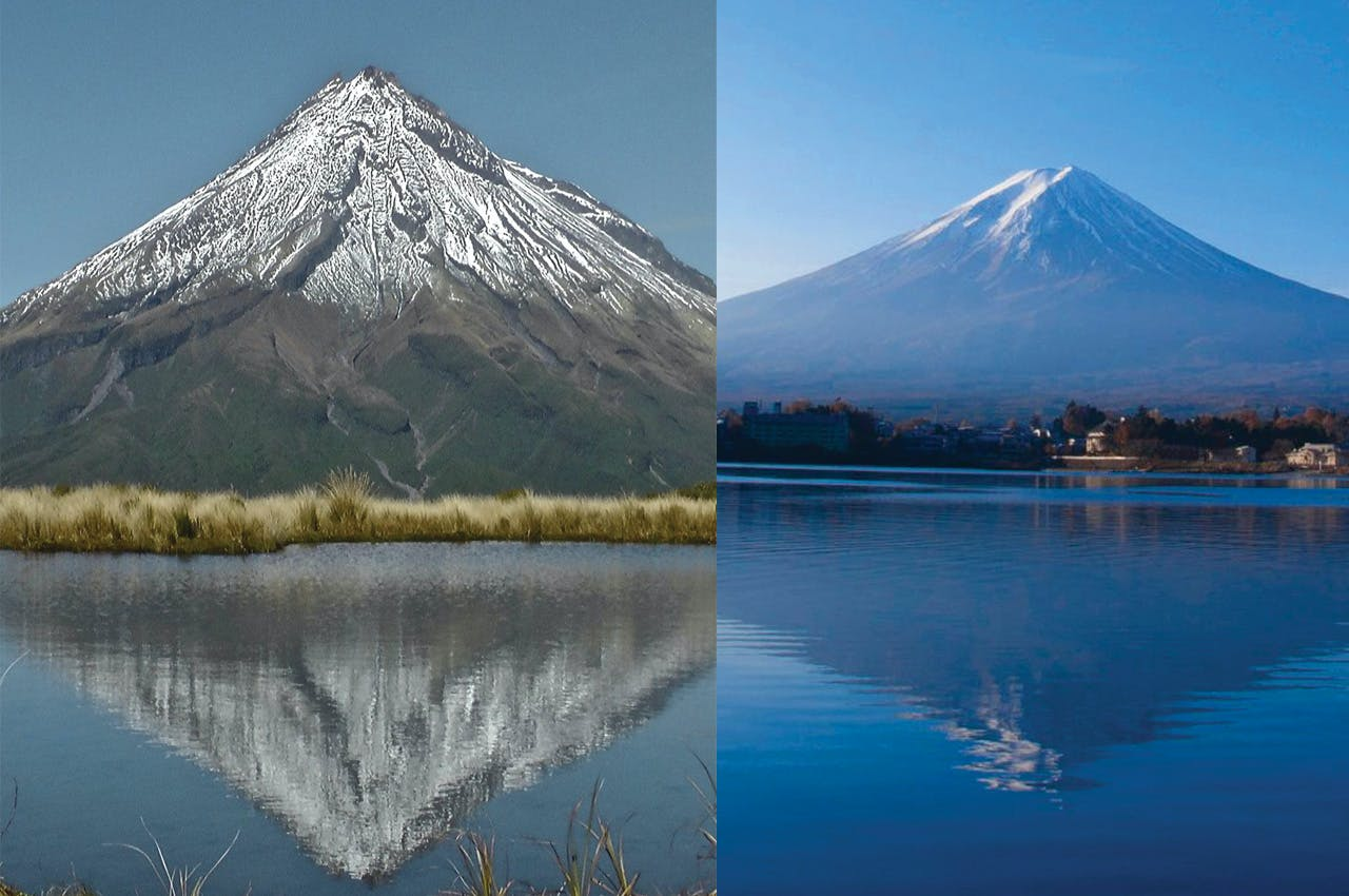 Which one's which? Both look like your classic cartoon summits. (FYI, Taranaki is on the left.)