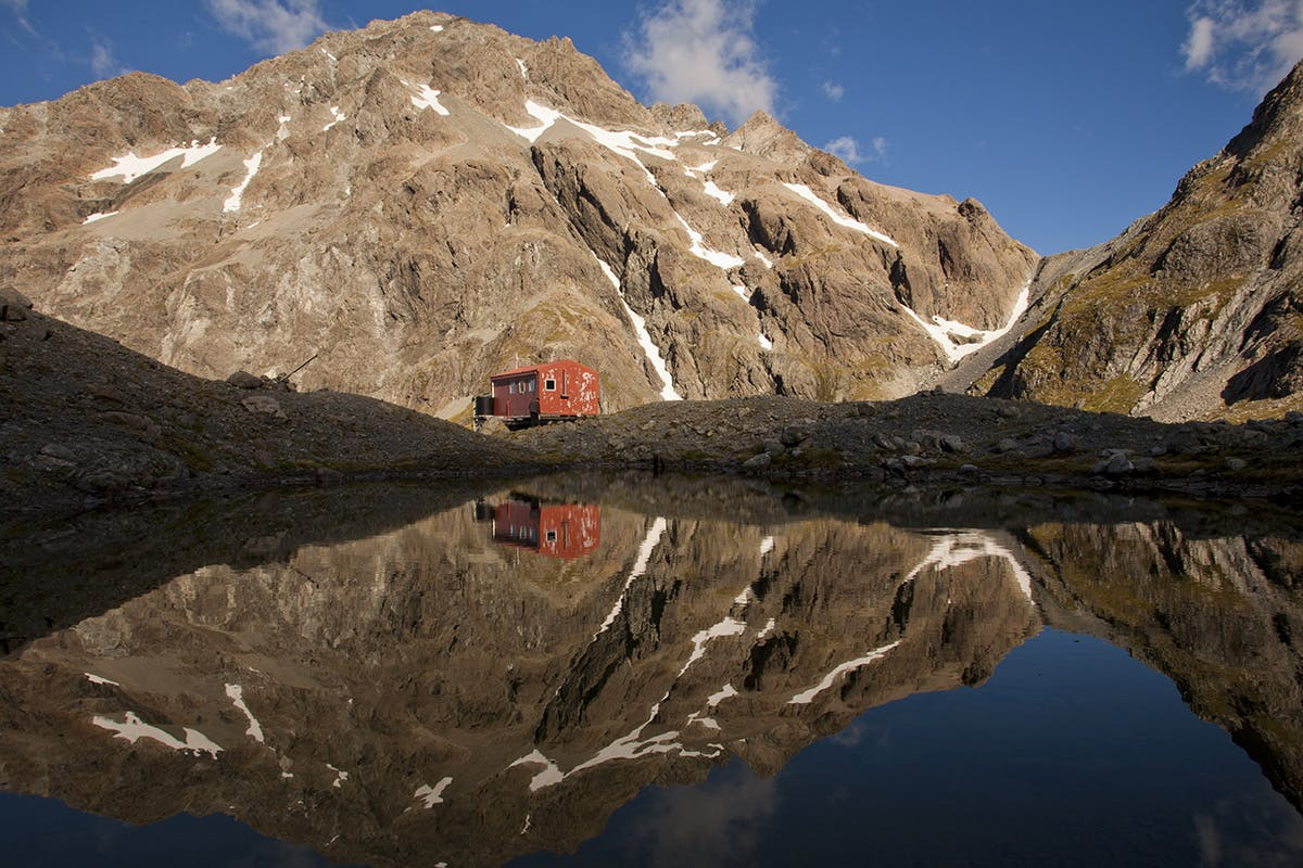 Barker Hut offers an exceptional view, including of Mt Harper. Photo: Nick Groves