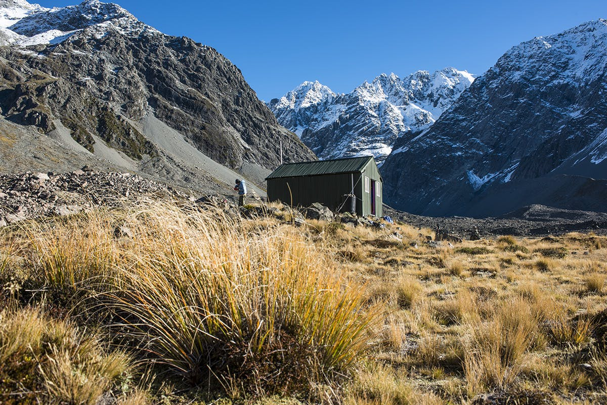 Cameron Hut and Arrowsmiths. Photo: Pat Barrett