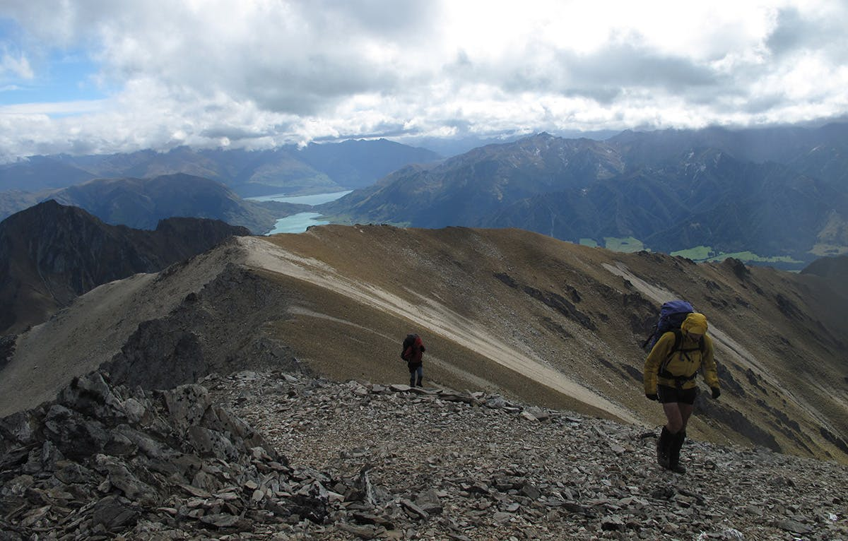 Lake Hawea seen from the summit ridge of Dingle Peak. Photo: Richard Davies