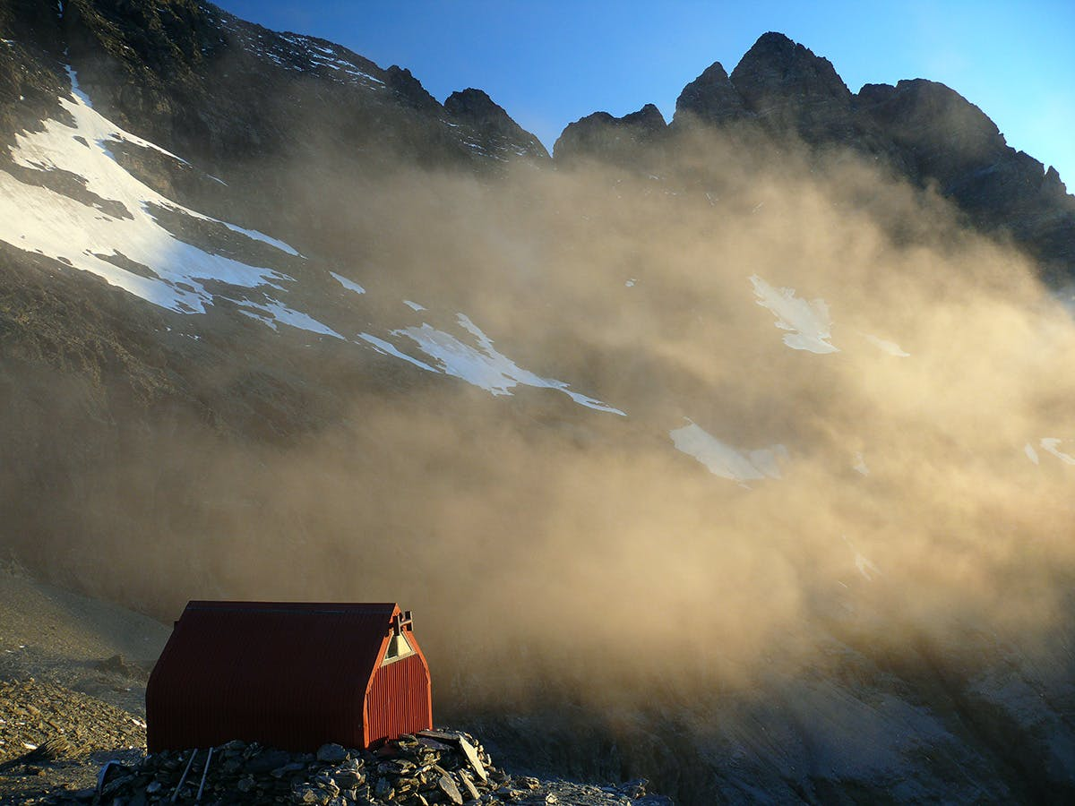 Sunset at Esquilant Bivvy with the West Peak of Mt Earnslaw behind. Photo: Geoff Spearpoint