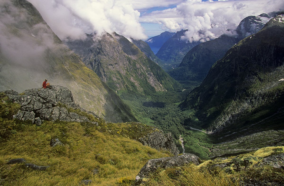 A hiker on Gerturde Saddle with Milford Sound beyond. Photo: Nick Groves