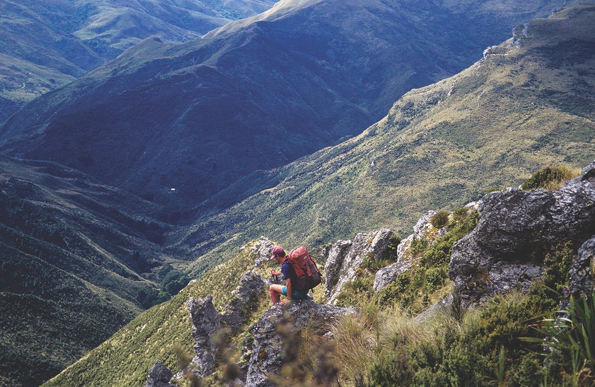 The Devils Staircase is a steep and exciting way to reach Jubilee Hut, visible far below. Photo: Ray Salisbury