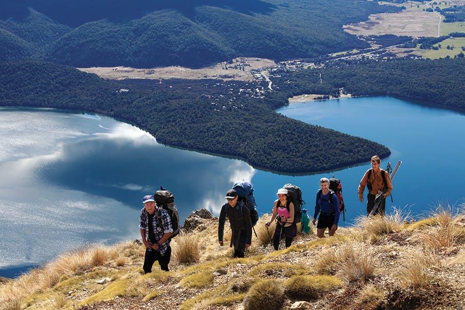 Climbing Mt Robert en route to Lake Angelus Hut. Photo: Ray Salisbury