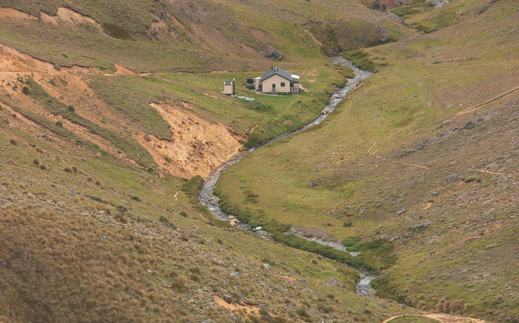 The beautifully-sited Woolshed Creek Hut is reached after a 2-3hr tramp. Photo: Ray Salisbury