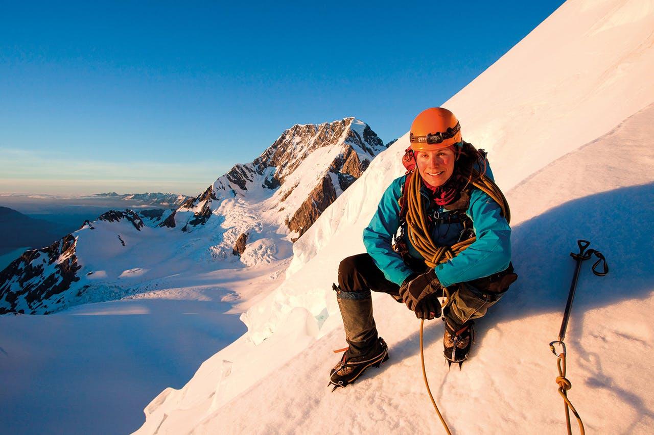 Elke Braun-Elwert on Mt Dixon, with Aoraki/Mt Cook behind. Photo: Supplied