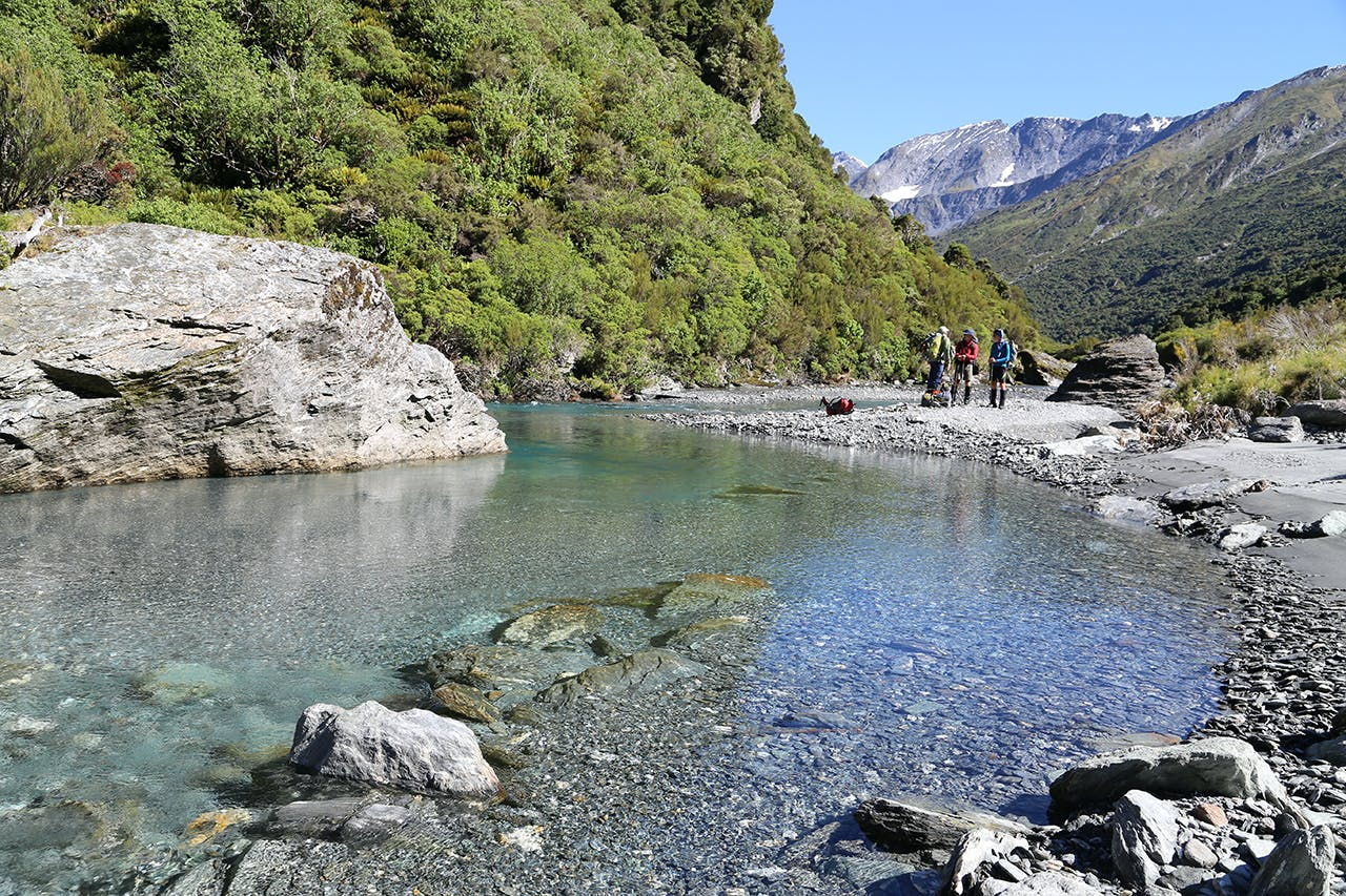 The beautiful waters of Matukituki River East Branch are a highlight of days three and four. Photo: Matthew Pike