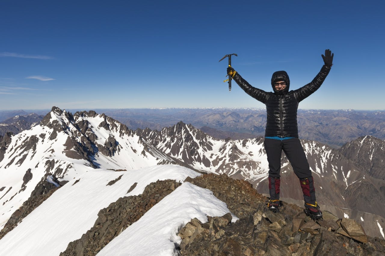 A real sense of achievement at climbing the highest mountain outside the Southern Alps. Photo: Mark Watson