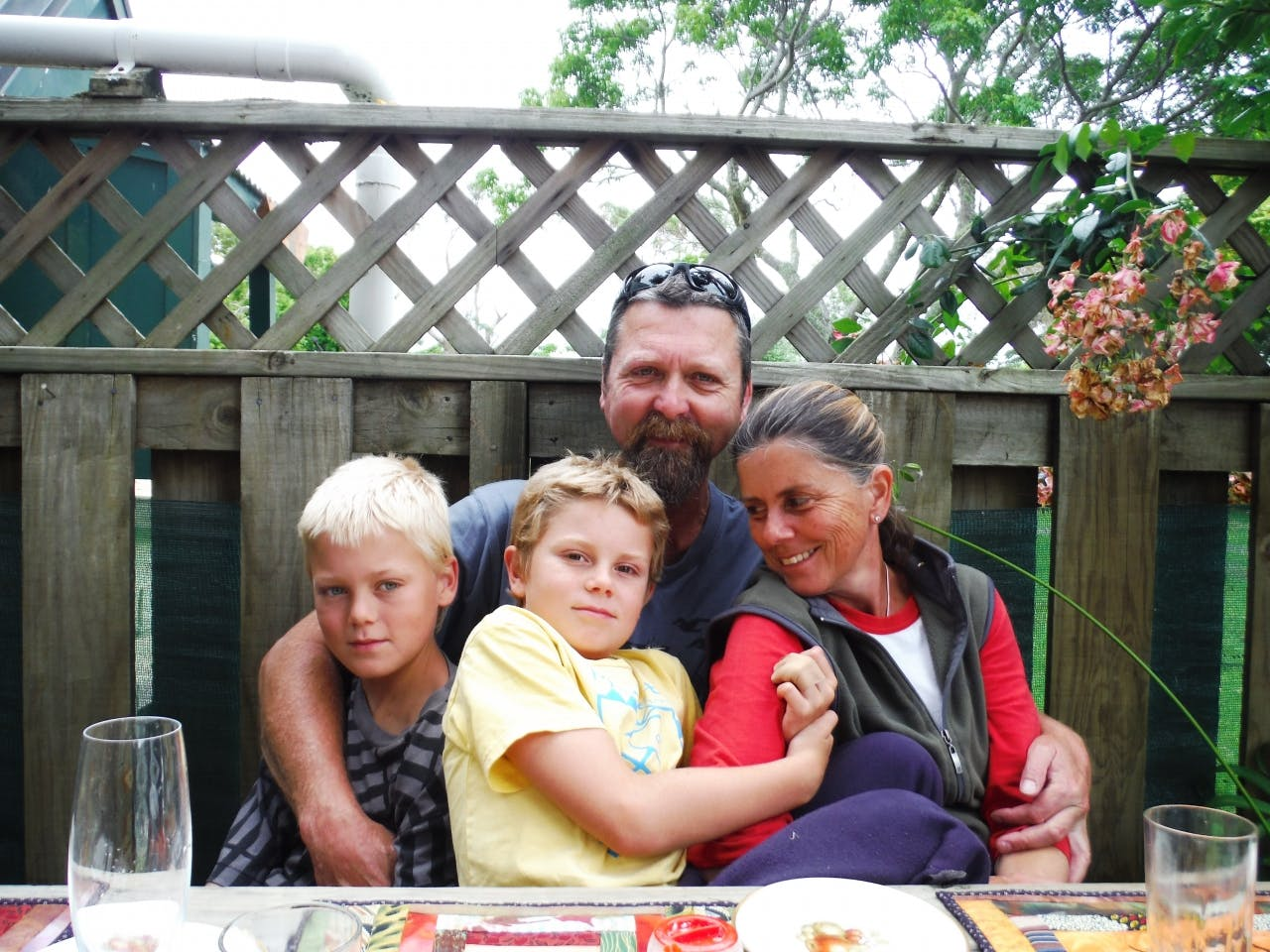 Whananaki Holiday Park owners Matthew and Tracy Hare with their boys William and Luke.
