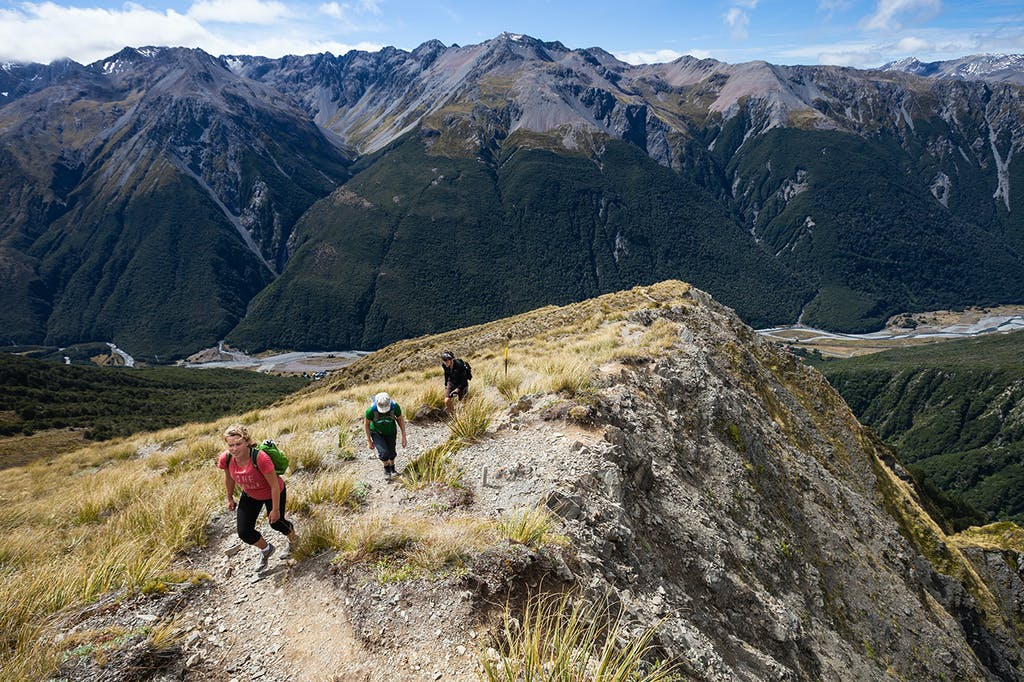The track to Avalanche Peak overlooks Arthur's Pass and the Bealey Valley. Photo: Mark Watson