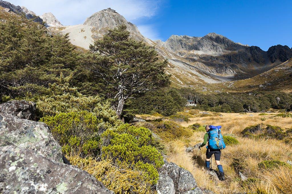 Approaching Upper Travers Hut. Photo: Mark Watson