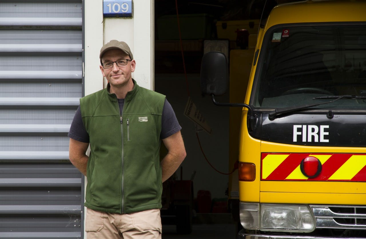 Nick Meanary is, among other roles, the fire controller for the Arthur's Pass Volunteer Fire Force / PHOTO: Anna Pearson