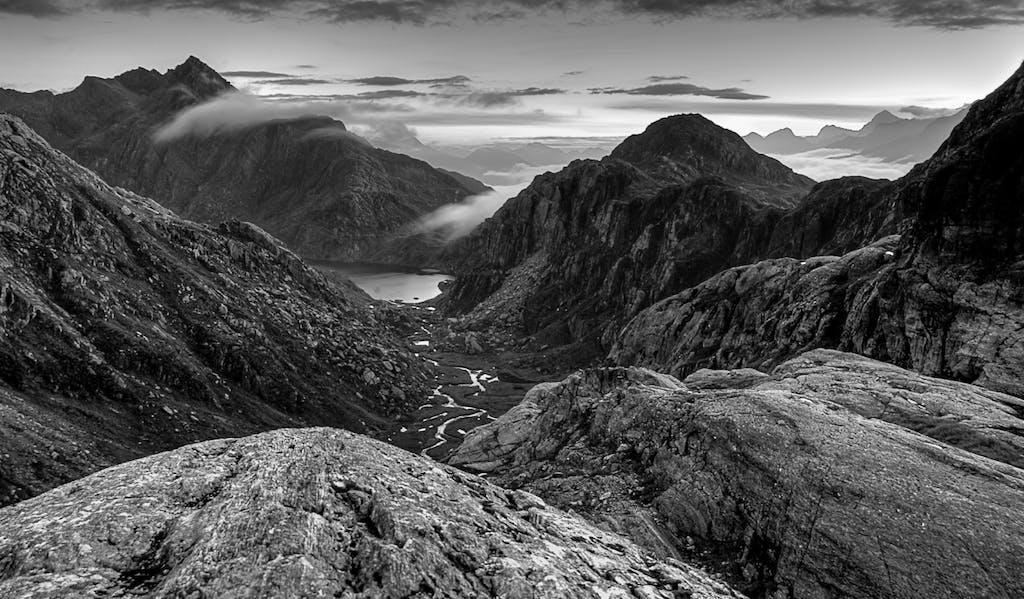 Valley of the Trolls.Mt Aspiring National Park.B+W.Philip Green