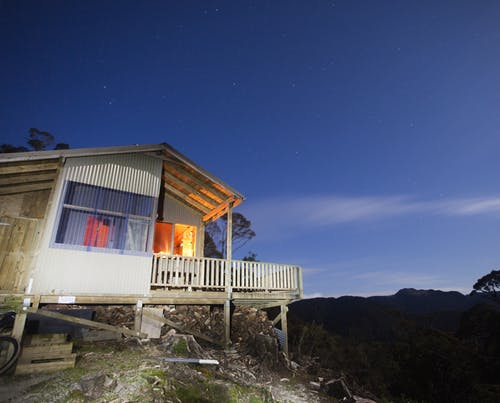 Lyell Saddle Hut looks out to the remote Glasgow Range