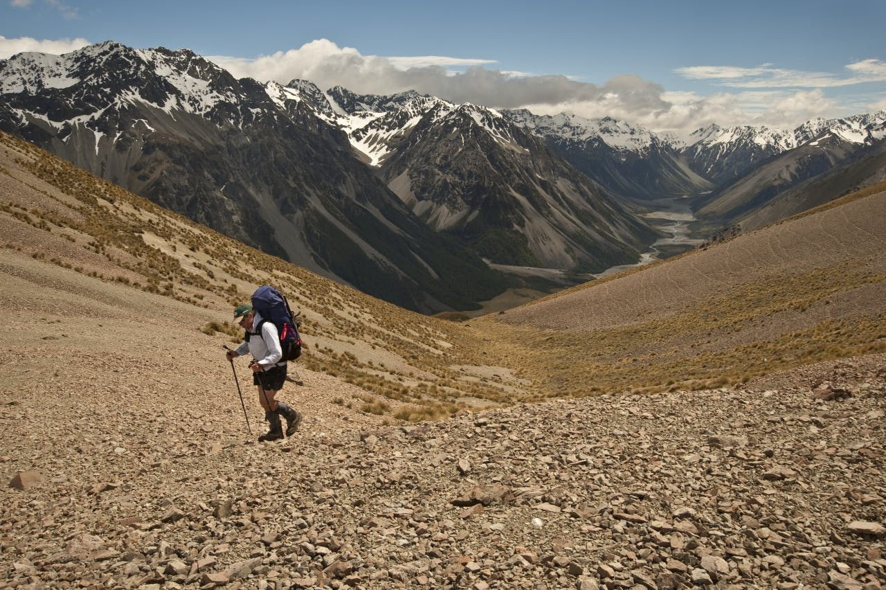 Crossing the Potts Range with the Lawrence Valley and Jollie Range beyond. Photo: Shaun Barnett/Black Robin Photography