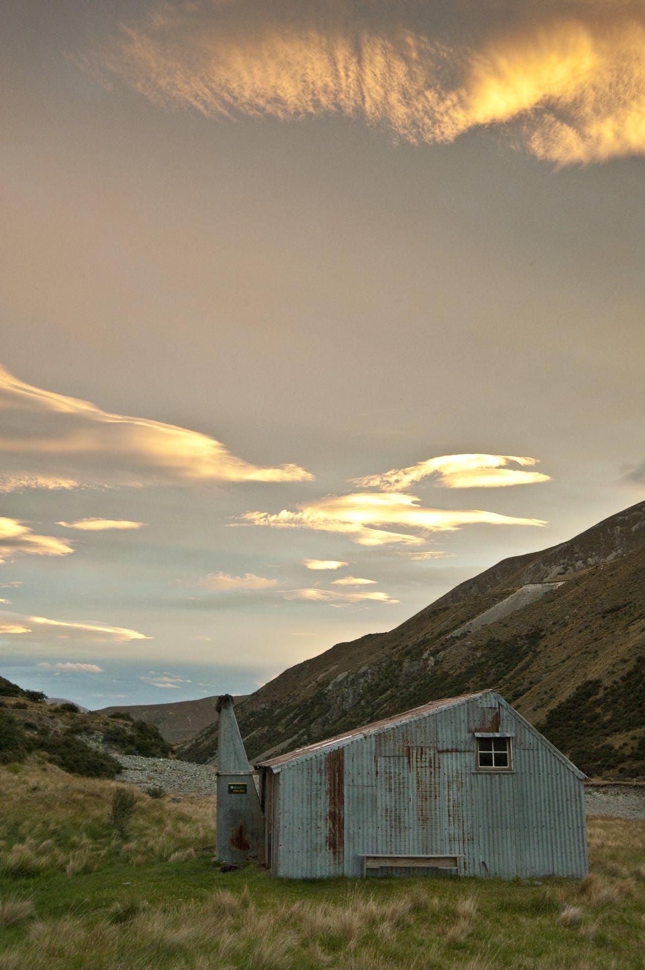 Sunset over Potts hut. Photo: Shaun Barnett/Black Robin Photography