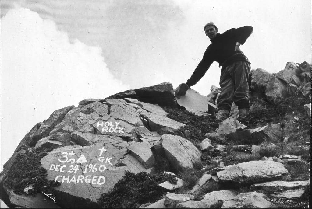 George King, the founder of the Aetherius Society, at the 'charged spot' on Mt Wakefield in 1960. Photo: Aetherius Society