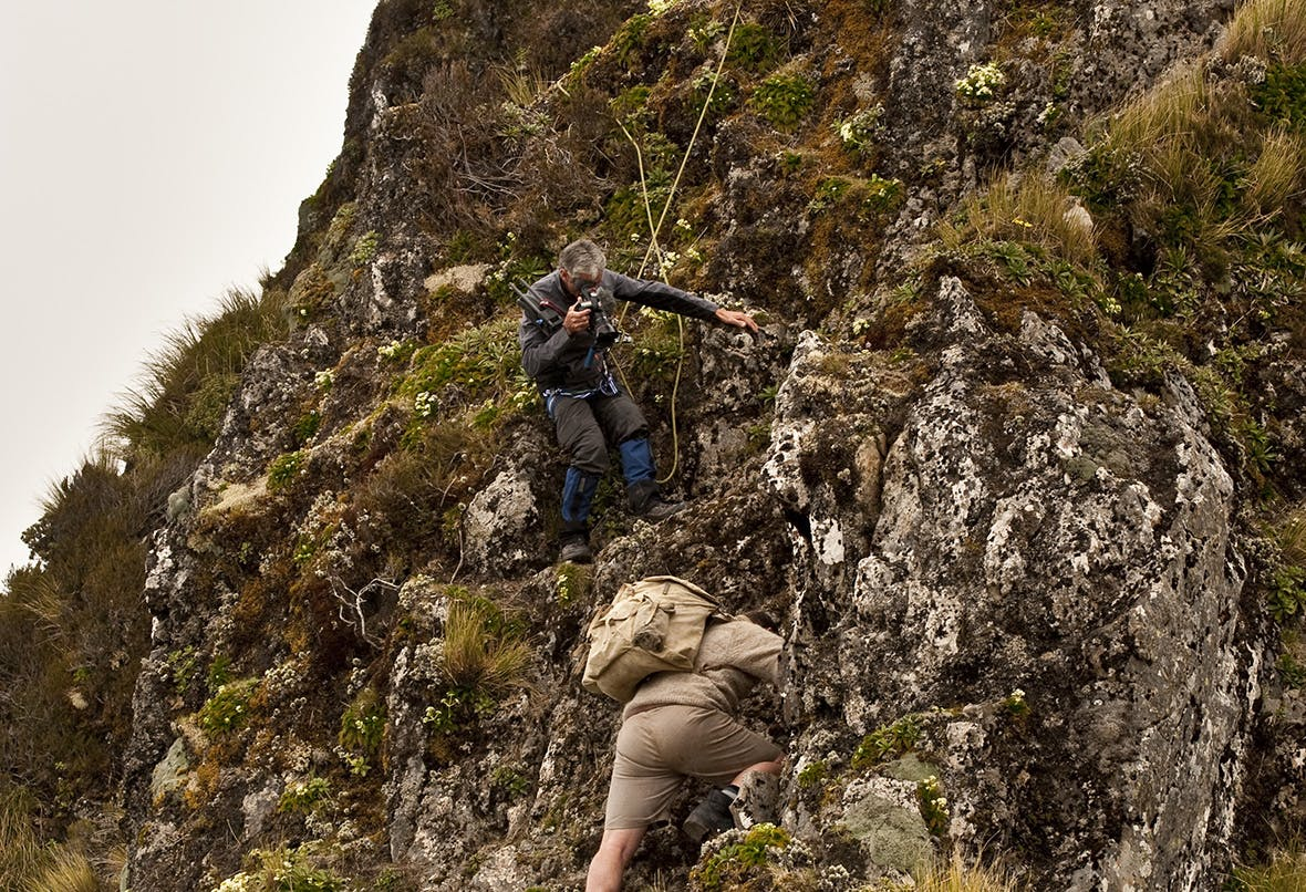 Cameraman Murray Milne films Jamie Fitzgerald during the reenactment of the Sutch search. Photo: Shaun Barnett