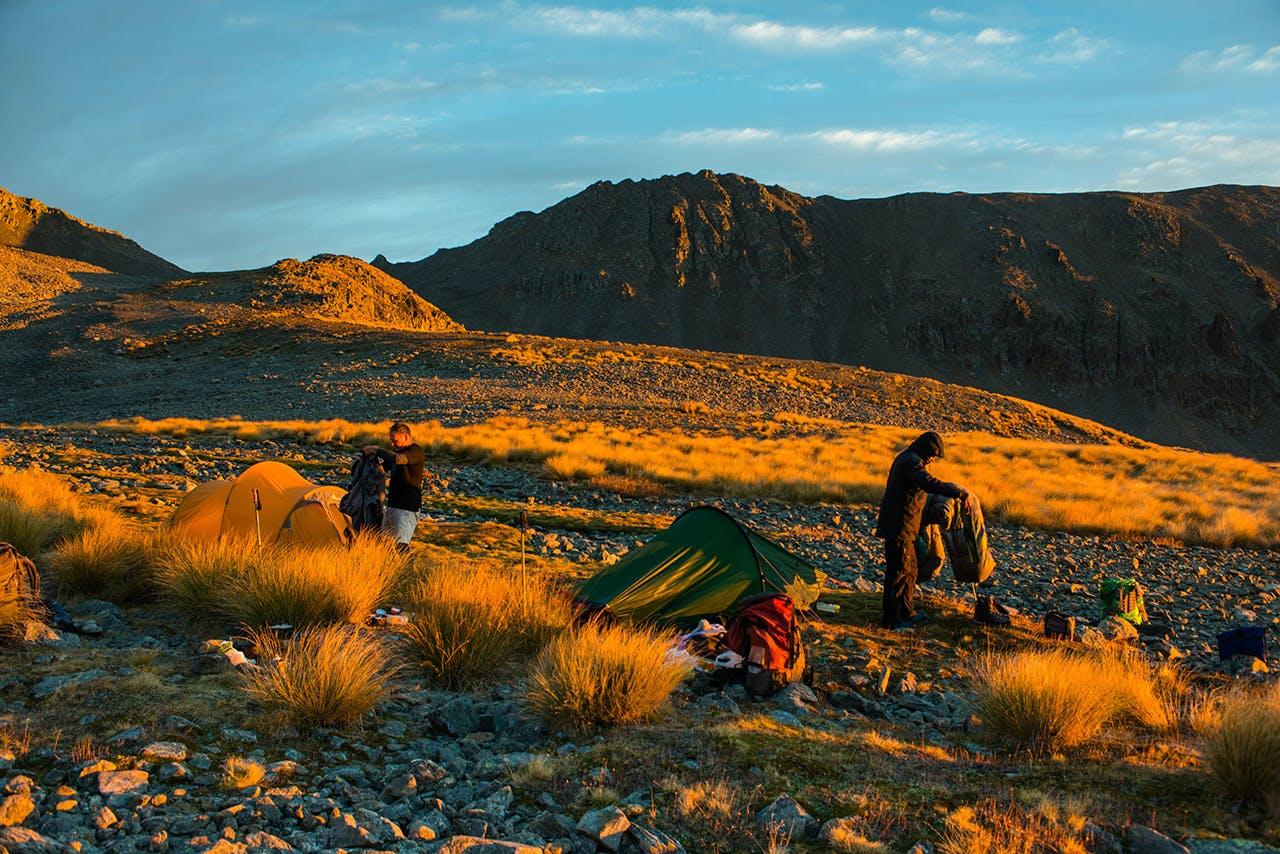 Early light at camp on Hawkdun Range. Photo: Pat Barett
