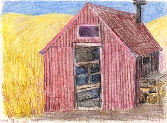 Hannah Joynts illustration of Camp Stream Hut, Te Araroa Trail