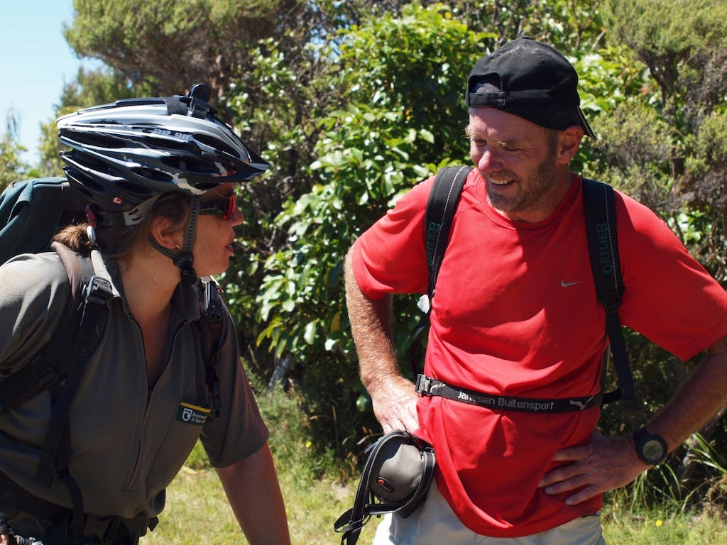 DOC ranger on the Queen Charlotte Track. Photo: DOC