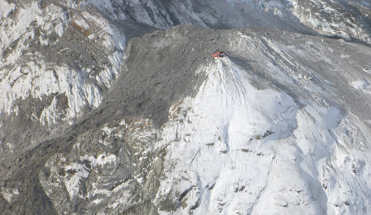 Gardiner Hut was smashed in a rock avalanche. Photo: DOC
