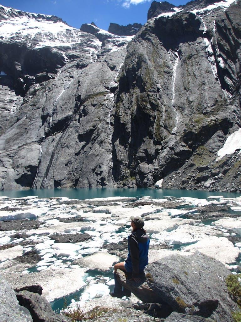 Crucible Lake covered with ice floats. Photo: Alina Suchanski