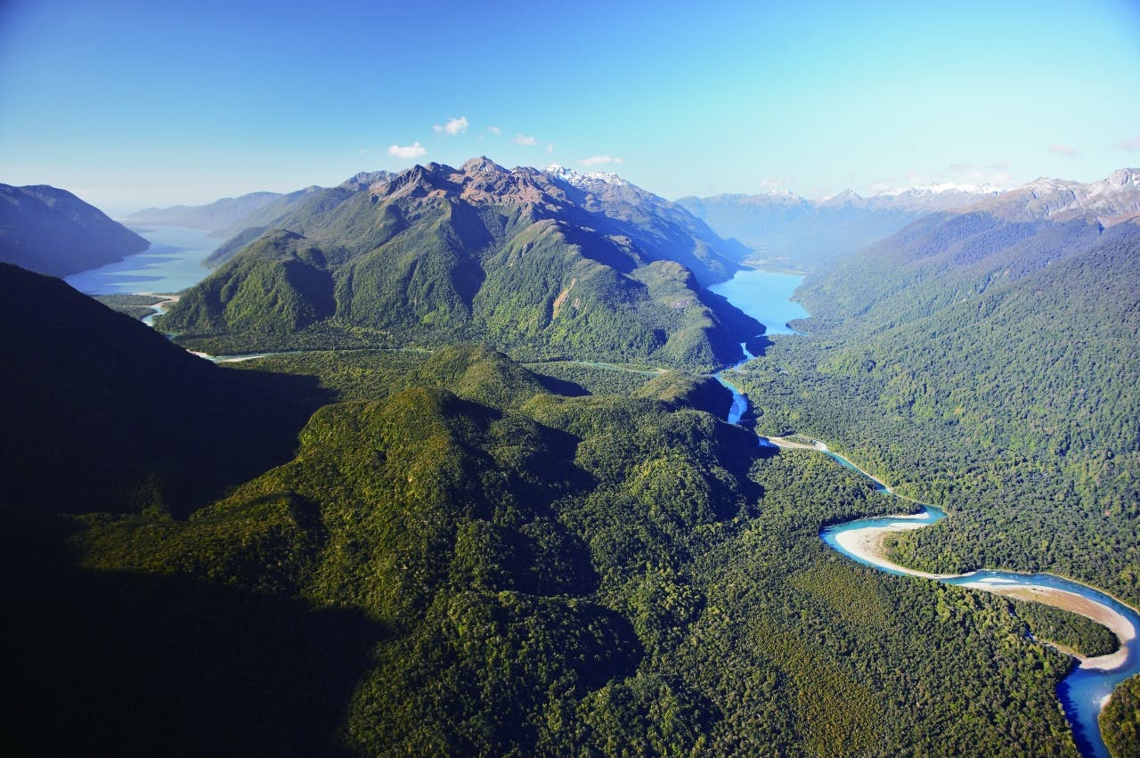 The lower Hollyford Valley and Lake Alabaster. PHOTO: Paul Rush