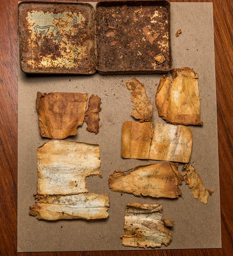 The remains of the logbook found on Mt Wakefield. Photo: Danilo Hegg