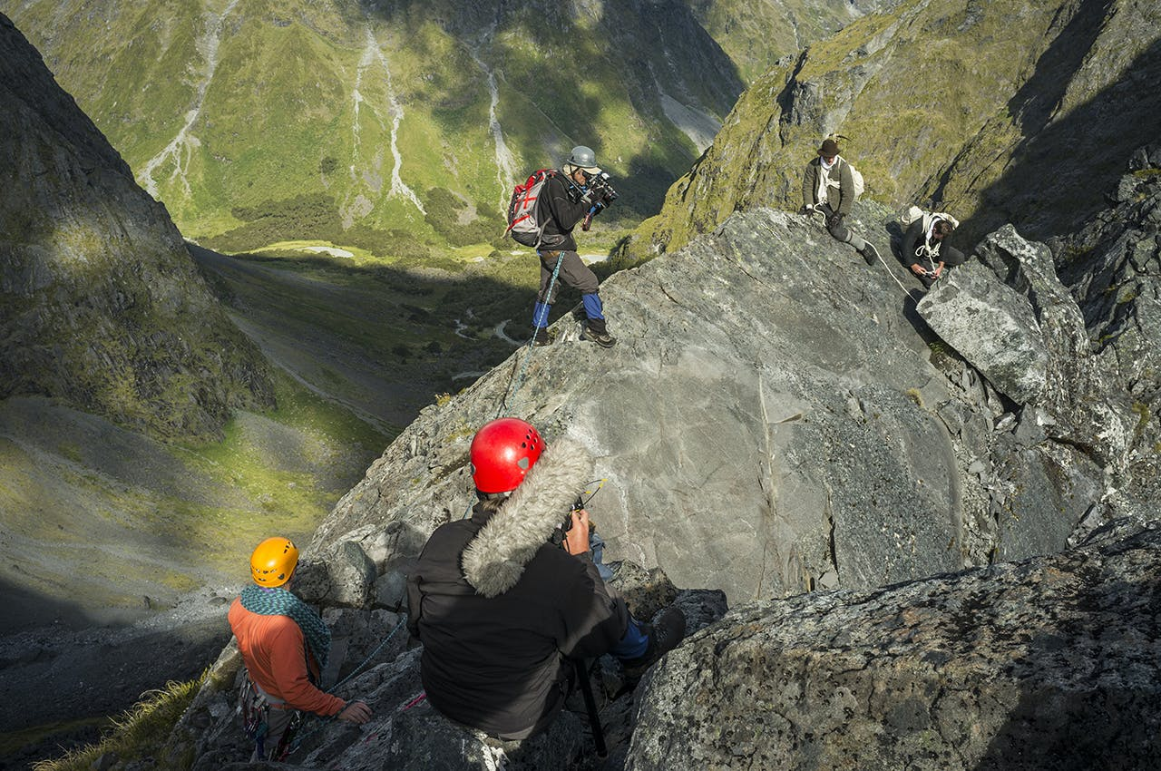 Filming a scene for the Grave-Talbot story on Homer Saddle. Photo: Rob Brown