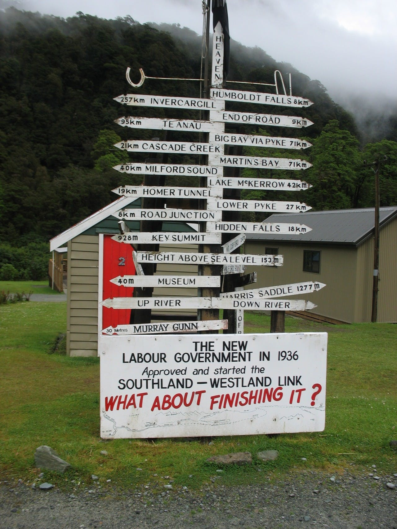 The Gunn's Camp signpost shows the way to Martins Bay and Heaven. PHOTO: Paul Rush