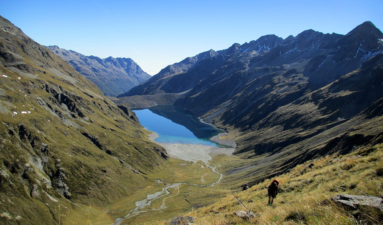 Lake Constance and the upper Sabine Valley from below Waiau Pass. Photo: David Dawkins