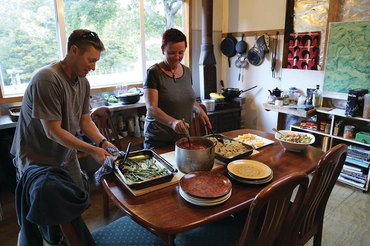 Preparing a lamb tagine feast on the second night. Photo: Matthew Pike