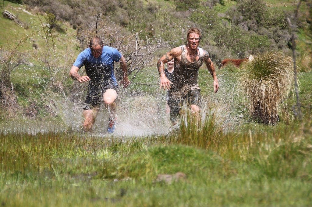 Event Director Dugald Peters (left), Joby Weston and Sue Charlsworth testing the natural obstacles on the Mule course Photo: Dugald Peters
