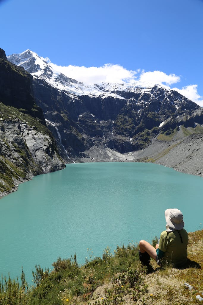 Petra enjoys the view over Lucidus Lake with Mt Castor Behind