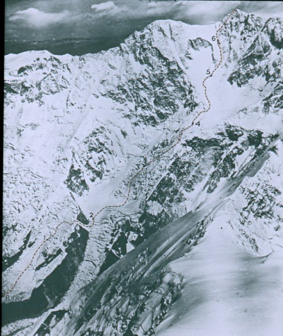 The near vertical route up  Kangchenjunga.