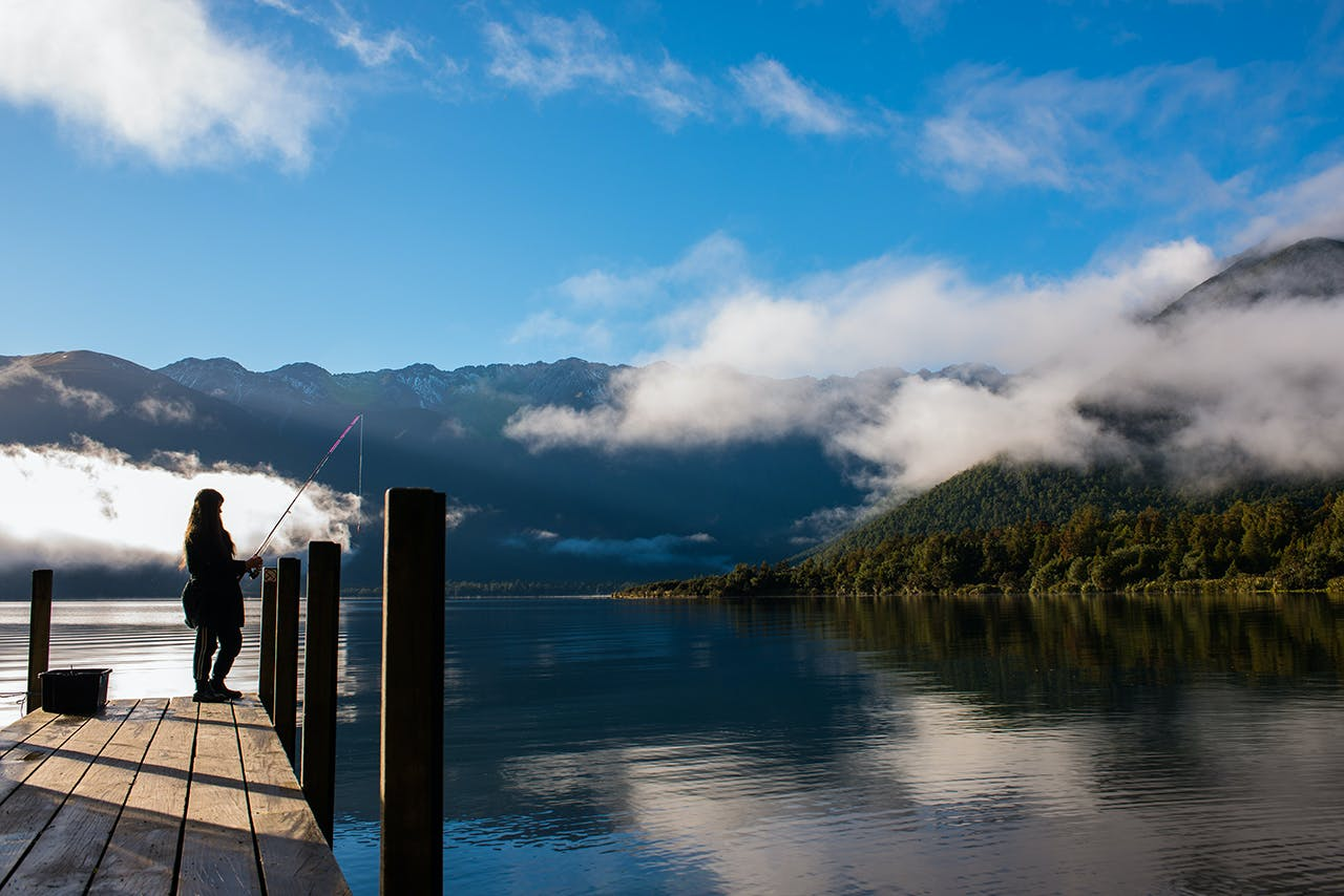 Catch dinner from the jetty at the head of Lake Rotoroa. Photo: Pat Barrett