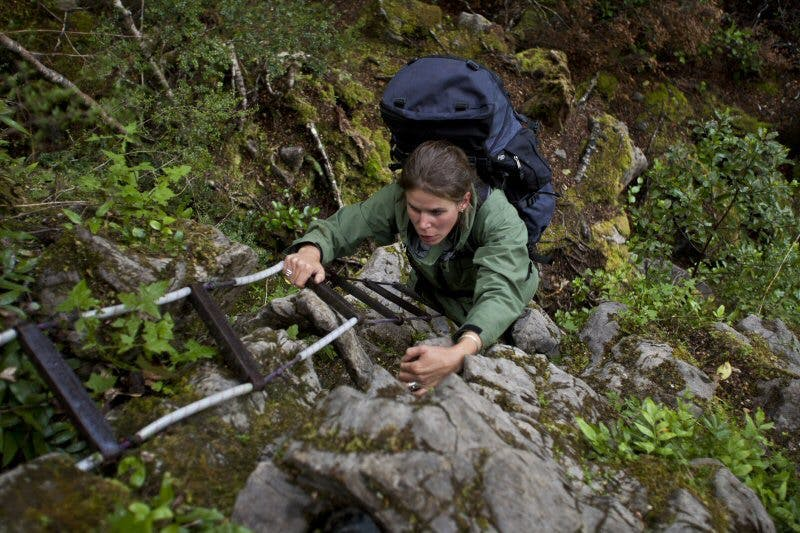 Marie on Cavers Ladder en route to Bulmer Lake
