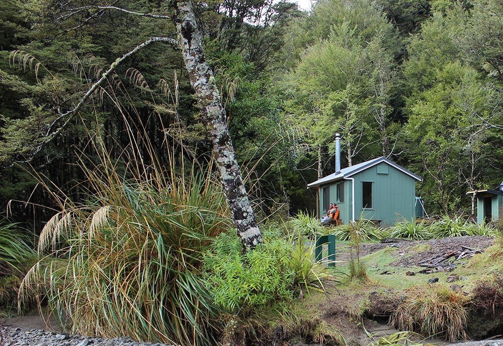 The new Maropea Forks Hut is sited further from the river. Photo: DOC