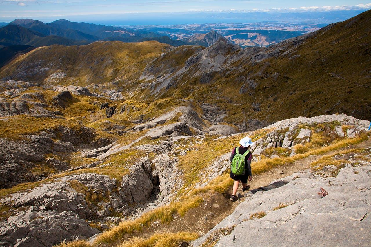 Descending through karst landscape below Mt Arthur. Photo: Nick Groves
