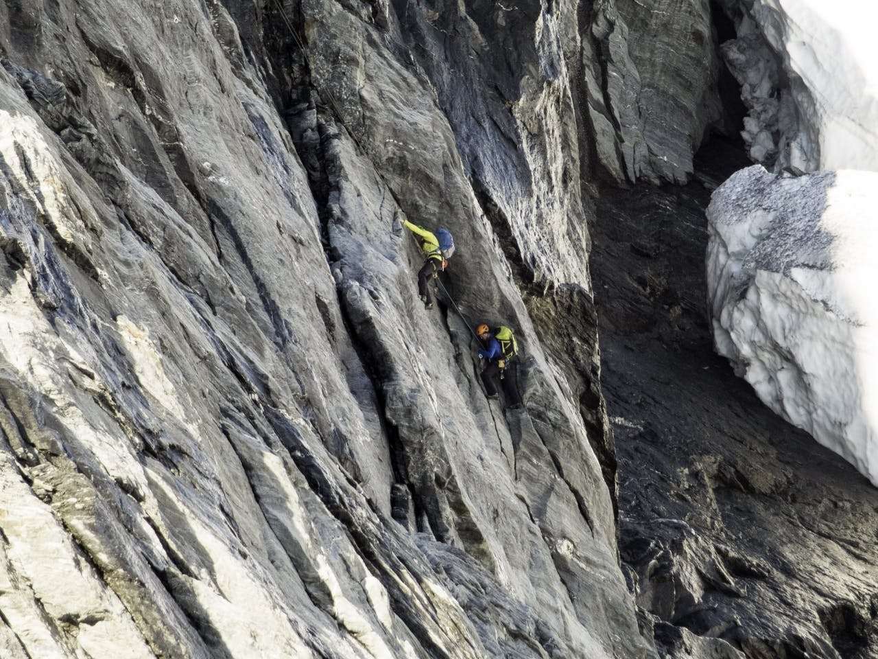 Ben Dare and Danny Murphy on the second pitch of the climb. Photo: Steve Skelton