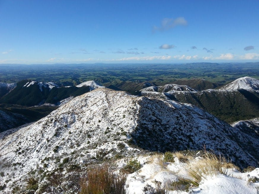 Snow dusts the top of the Ruahine foothills. Photo: Ricky French